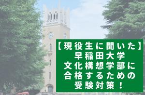 【現役生に聞いた】早稲田大学文化構想学部に合格するための受験対策!